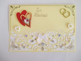 Hochzeitskarte, Hochzeit, edel, Handarbeit! Beige