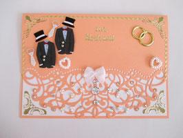 Hochzeitskarte, Hochzeit, edel, Handarbeit! Lachs