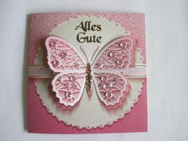 Grußkarte Geburtstag, Schmetterling Rosé oder Caramel