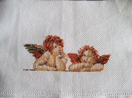 Stickbild , zwei kleine Engel, Raphael,  echte Handarbeit! Aufwendig!