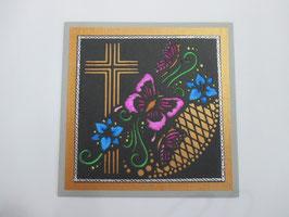 Trauer, Beileid ,Kondolenz ,Trauerkarte Schmetterling, Lila, Handarbeit