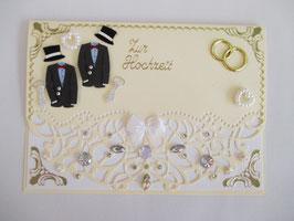 Hochzeitskarte, Hochzeit, edel, Handarbeit! Creme