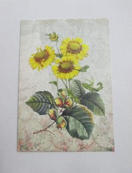 Grußkarte Blumen Gelb Neutral