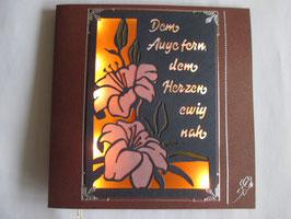 Lichtkarte, Kondolenz, Trauer, Beileid, Leuchtet!! Orange, Handarbeit