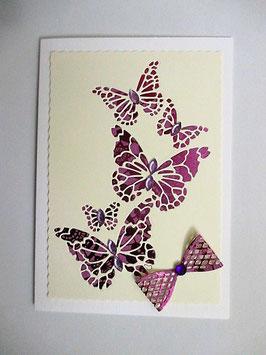 Grußkarte neutral Schmetterlinge Lila