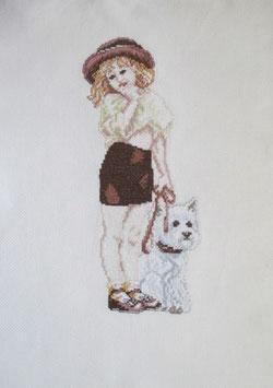 Stickbild , Kreuzstich , Mädchen mit Hund, Handarbeit!