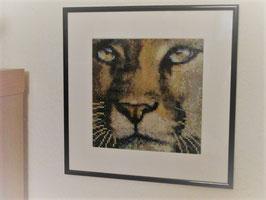 Mosaik, Bild, Löwe, Handarbeit, mit Rahmen