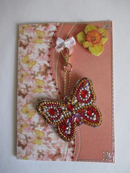 Geschenk-Set Grußkarte, Schmetterling, Schlüsselanhänger  Orange