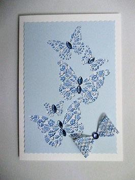 Grußkarte neutral Schmetterlinge Blau , Gelb
