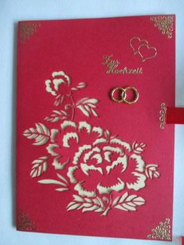 Hochzeitskarte XL, Grußkarte Hochzeit Blumen, Handarbeit