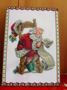 Stickbild Weihnachtsmann Weihnachtsdekoration mit Aufsteller