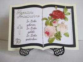 Grußkarte, Trauerkarte, Buch, Herzliche Anteilnahme