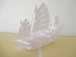 Geburtstagskarte, Grußkarte, Schiff, Weiß, Handarbeit!