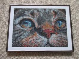 Mosaik, Bild, Katze, Handarbeit, mit Rahmen