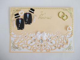 Hochzeitskarte, Hochzeit, edel, Handarbeit!Aprikose