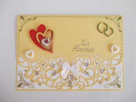 Hochzeitskarte, Hochzeit, edel, Handarbeit! Pfirsich