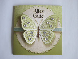 Grußkarte Geburtstag, Schmetterling Grün