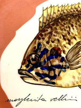 PIATTO IN PORCELLANA CON PESCE DEL LAGO PERSICO SOLE ART. 16
