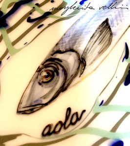 PIATTO IN PORCELLANA CON PESCE DEL LAGO AOLA ART. 11