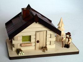 Räucherhaus mit Waldarbeiter