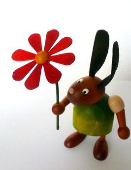 Hase mit Lederohren und Blume