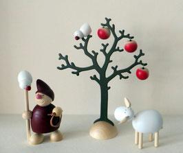 Wicht mit Lasso, Schaf und Baum mit Vogel