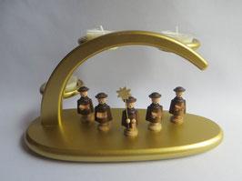 Leuchterbogen goldfarben bestückt mit Kurrendefiguren der Firma Unger
