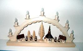 Schwibbogen mit Seiffener Kirche und Kurrende