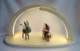LED Leuchterbogen mit lachendem Esel und Wicht mit Lasso