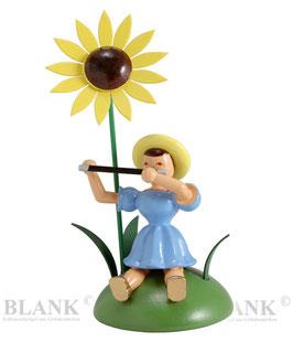 Blumenkind sitzend mit Sonnenblume / Querflöte
