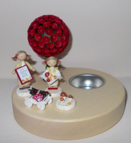 Kleines Mädchen mit Steinpilzen , Mädchen mit Pilzbuch, Handwagen und Pilzen auf Teelichthalter