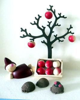 Apfelbaum mit Wicht, Maulwurfshügeln und Apfelstiege