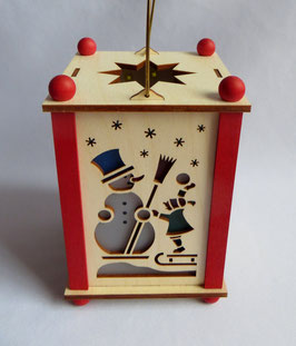 Erzgebirgische Laterne mit Weihnachtsmann und Schneemann und LED- Licht