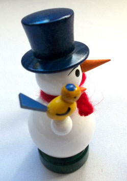 Schneemann mit Vogel und Laterne