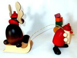 Weihnachtsmann mit Faultier (Elch auf Schlitten)