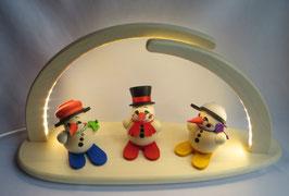Leuchterbogen mit LED Beleuchtung bestückt mit 3 Kugelräucherfiguren