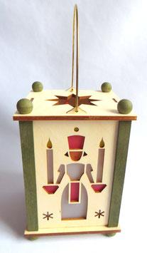 Erzgebirgische Laterne mit Engel und Bergmann und LED-Licht