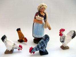 Bäuerin mit Hühnern