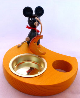 Teelichthalter Maus mit Mond