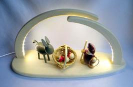 LED Leuchterbogen bestückt mit Esel, Apfelkorb und Wicht mit Lasso