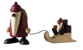 Weihnachtsmann mit Schlitten und Weihnachtskind