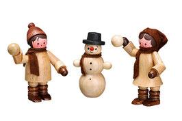Schneeballwerfer und Schneemann