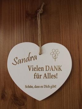 Holz Herz Danke