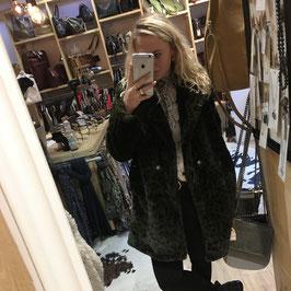 Fake fur leopard coat army