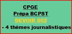 Cours à distance, 4 traductions pour CPGE/BCPST-devoir 002/T/BCPST