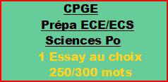 Cours à distance : 1 essay de 250/300 mots pour CPGE/ECE/ECS ou Sciences Po