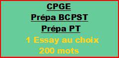 Cours à distance : 1 essay de 200/220 mots pour CPGE/BCPST/PT