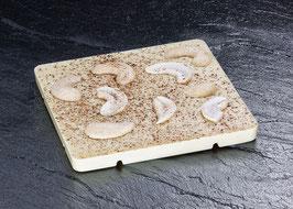Weiße Tafelschokolade 31% mit gesalzenen Cashews und gemahlener Vanille