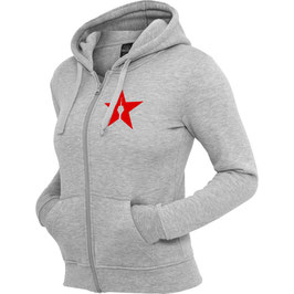 "girl zipper ""star"" heather grey"