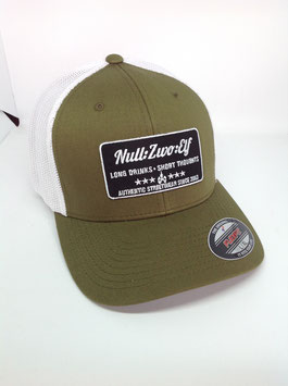 "trucker flexfit cap ""long drinks"", olive-white"